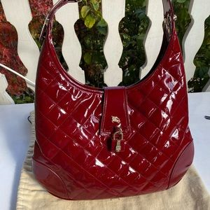 Authentic Red Patent Burberry Hobo